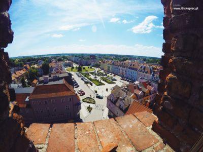 Widok z wieży kościoła Jana Chrzciciela w Biskupcu